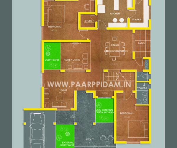 house plans thrissur, small home plans kerala, kerala villa design3 bedroom contemporary villa at kerala